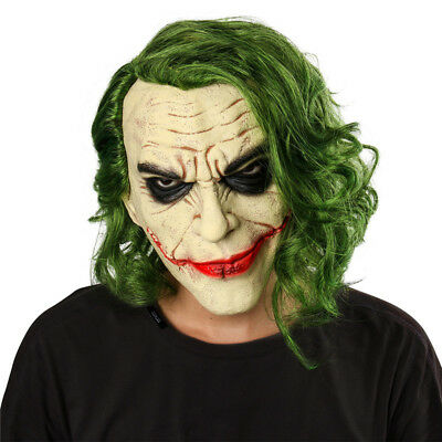 Halloween Batman Joker mask Cosplay Horror Scary Clown Mask with Green Hair Hot