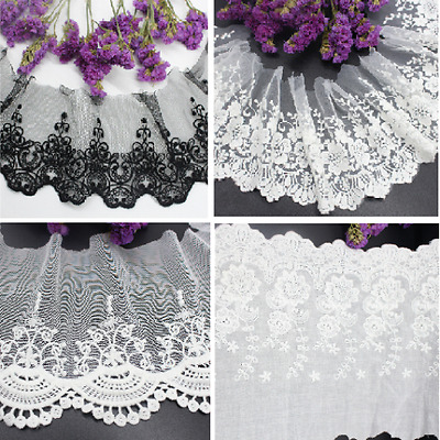 2 Yard Embroidered Floral Tulle Lace Trim Edge Mesh Net Wedding Sewing Craft DIY