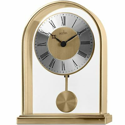 Thurrock Gold Effect Metal Mantel Clock with Pendulum by Acctim 36828