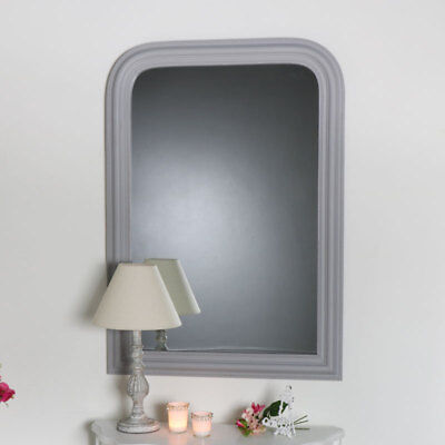 Grey arched wall mounted mirror vintage French chic living room hallway display