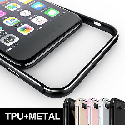 Slim Aluminum Metal Frame Soft Silicone Side Cover For iPhone 6 6s 7 Plus 8 Plus