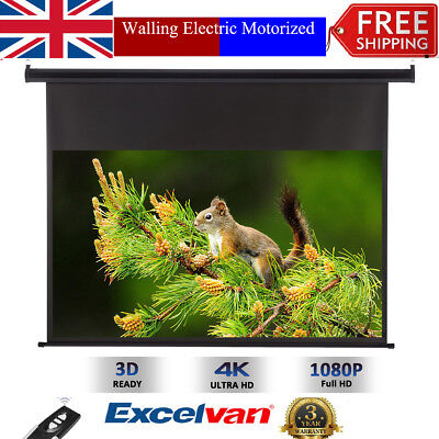 """100""""Inch 16:9 Electric Motorized HD Wall Mounted Projector Screen Cinema Theater"""