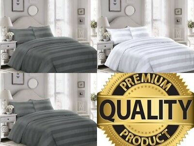 "Luxury Duvet Set Cotton 4"" Strip Quilt Cover Bedding Double King Super King Size"