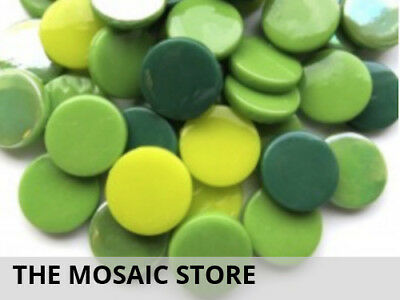 Mixed Green Large Glass Dots | Mosaic Tiles Supplies Art Craft