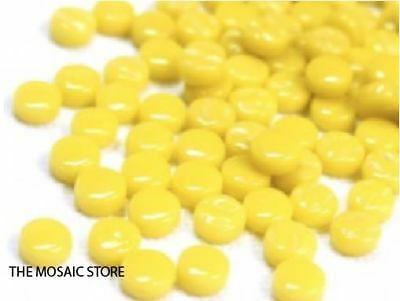 Opal Yellow Glass Dots (Circles, Round Tiles) - Mosaic Tiles Supplies Art