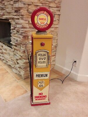 "42"" Shell Route US 66 Gas Pump Cabinet with light. Man Cave/Gameroom Decor."
