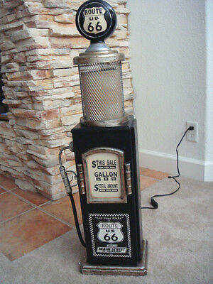 "36"" tall Black Route 66 Gas Pump Cabinet with Light. Mancave. Gameroom."