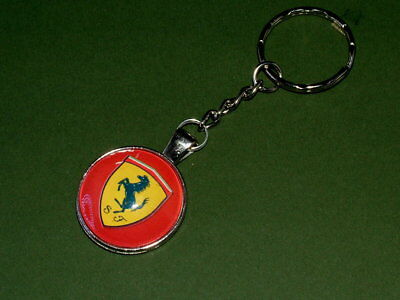 Ferrari keyring silver plated holder and glass cabochon.
