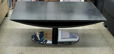 Amazing Mid Century Post Modern Ebony Coffee Table On Circular Stainless Base
