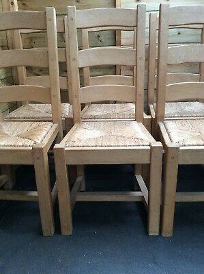 Rustic Solid Oak Wood Ladder Back Dining Chairs Handmade Thatch Last One