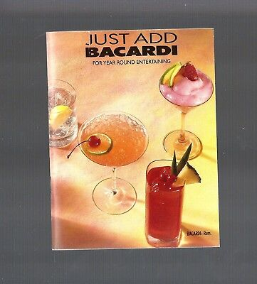 Vintage Collectible 1992 Just Add...BACARDI Rum Recipe Booklet