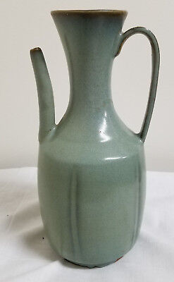 Antique Style Chinese Song Jin Jun Pitcher Pale Sky Blue Vase As Is