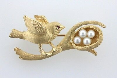 14K Yellow Gold Intricate Detailed Canary Bird with Pearl Eggs Nest Brooch Pin