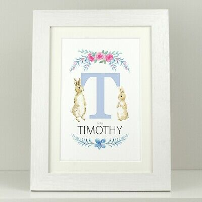 Personalised Peter Rabbit Letter print / New Baby Boy Girl Christening day VA131