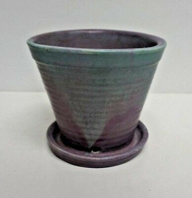 """Muncie Art Pottery Green over Lilac Footed Vase 5"""""""