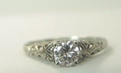 Antique Art Deco Diamond Engagement 18K White Gold Ring Size 6 UK-L1/2 EGL USA