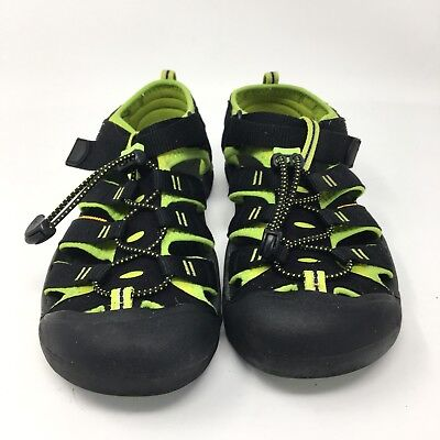 b97d8d945b39 Keen Newport H2 Hiking Sandals Black Lime Green Shoes Youth Big Kid Boys  Size 6Y