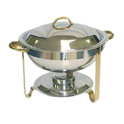 Thunder Group SLRCF0831GH 4 Qt Round Stainless Steel Chafer w/ Gold Accents