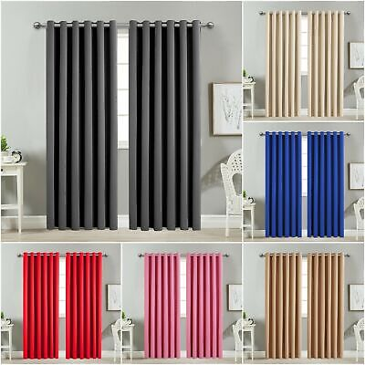 THERMAL BLACKOUT CURTAINS Eyelet Ring Top OR Pencil Pleat And FREE Tie backs