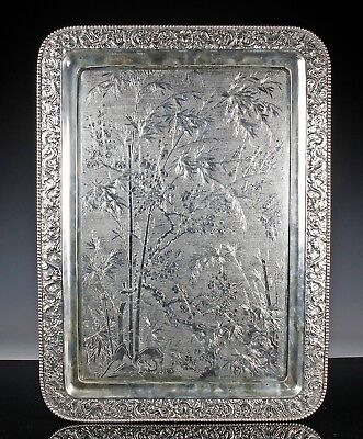 Massive Antique Chinese Export Silver Tray By Wang Hing With Detailed Scene