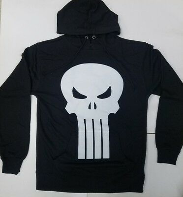 fc1bfdfe MARVEL PUNISHER RETRO Skull Symbol Mens Graphic Lightweight Hoodie ...
