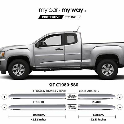(Fits) GMC Canyon-2015-2019-Long Box-Extended Chrome Body Side Molding  Cover Tr