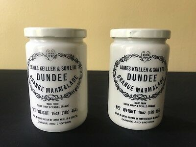 2 Vintage James Keiller & Son DUNDEE MARMALADE Crock Jars/Pots with Lids