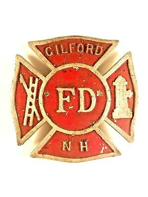 VINTAGE GILFORD NH F D  Fire Dept Aluminum Maltese Cross Shield Plaque