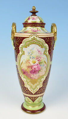 "Beautiful Royal Bonn 14"" Urn w/ Raised Gold Flowers Antique German Pottery Vase"