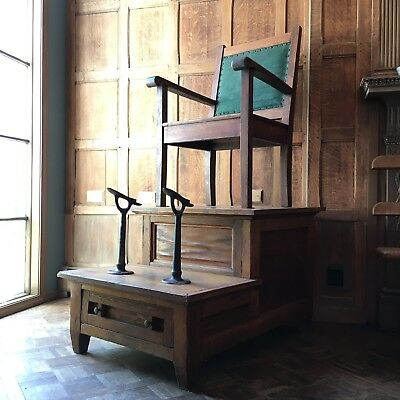 Antique Shoe Shine Chair, Oak Shoe Shine Chair with Foot Rests