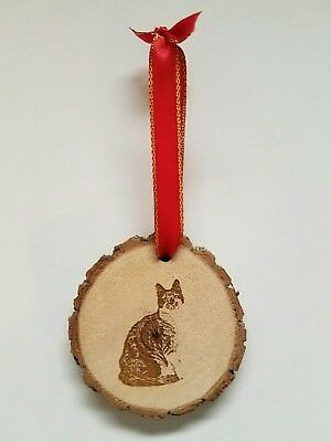 Calico Cat Wood Christmas Ornament