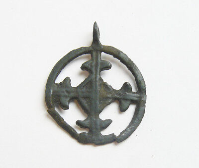 Ancient Kievan Rus' Bronze Metal Casting Cross Pendant c 10-12 AD N2