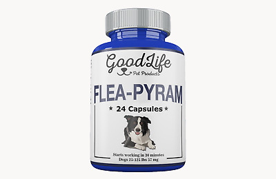 24 CAPSULES GoodLife Flea Killer For DOGS 25-125 Lbs. 57 Mg Quick Results!