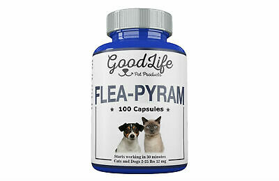 100 CAPSULES GoodLife Flea Killer For CATS and DOGS 2-25 Lbs. 12 Mg
