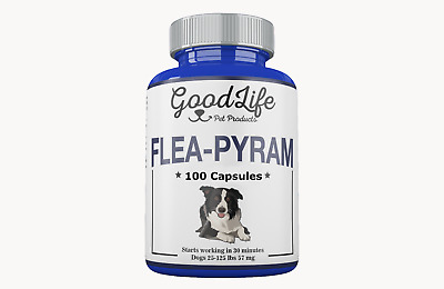 100 CAPSULES GoodLife Flea Killer For DOGS 25-125 Lbs. 57 Mg Quick Results!