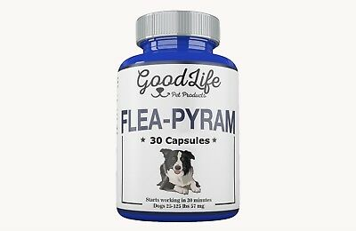 30 CAPSULES GoodLife Flea Killer For DOGS 25-125 Lbs. 57 Mg Quick Results!