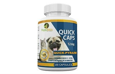 100 CAPSULES Quick Caps Flea Killer For CATS and DOGS 2-25 Lbs. 12 Mg