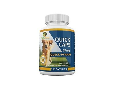 100 CAPSULES Quick Caps Flea Killer For DOGS 25-125 Lbs. 57 Mg Quick Results!