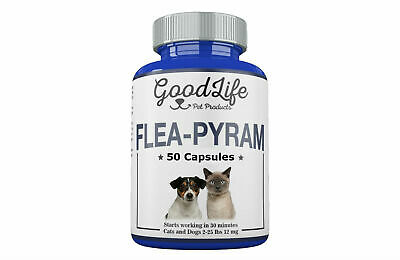 50 CAPSULES GoodLife Flea Killer For CATS and DOGS 2-25 Lbs. 12 Mg