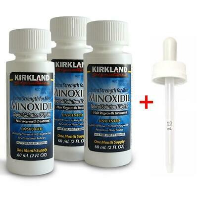 NEW Kirkland Minoxidil 5% Extra Strength 3 Month Supply w/Dropper Mens Hair Loss