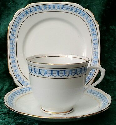 Vintage Rare Art Deco Royal Albert Tea Trio Cup Saucer Square Plate Blue #7640