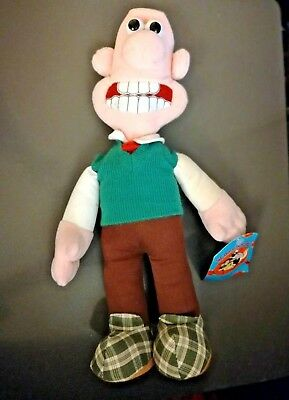 """Wallace and Gromit 14"""" WALLACE Plush Toy w/ Green Vest & Tags WG002 Vintage 1989"""