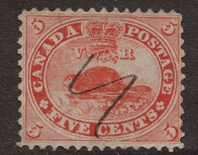 Canada  #15 5c  12P PEN CANCEL  FIRST CENTS ISSUE   FINE (3)