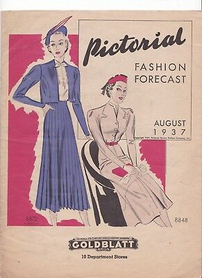 Pictorial Fashion Forecast August 1937 Rare Pattern Catalog 1930s Fashions