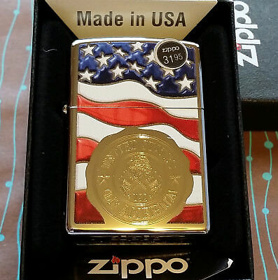 Zippo 29395 American Stamp on Flag Chrome 2018 Release NEW in box Lighter