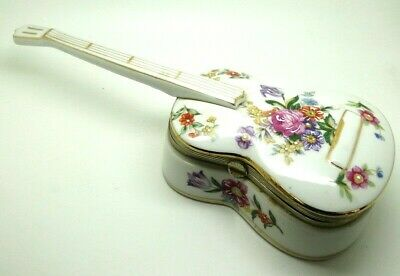 PORCELAIN beautifully FLOWER decorated / painted GUITAR MUSIC box