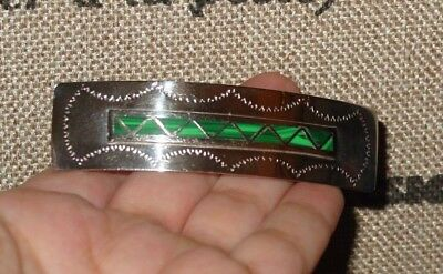 Vintage Sterling Silver Hair Barrette / Clip With Inlaid Malachite Stones Marked