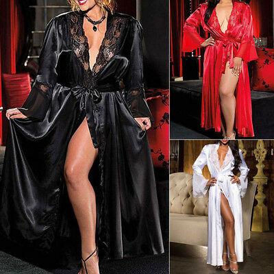 Sexy Ladies Long Silk Kimono Dressing Gown Babydoll Lace Lingerie Bath Robe