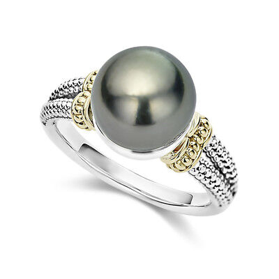 Elegant Women Wedding Rings 925 Silver Jewelry Round Cut Black Pearl Size 6-10