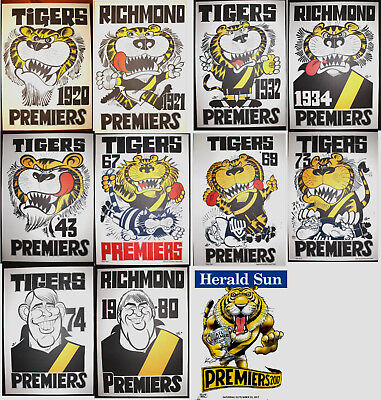 1920 21 32 34 43 67 69 73 74 80 2017 Richmond Premiers Poster Grand Final Weg